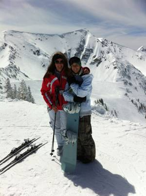 snowboarding on a mountain