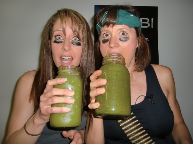 Robyn drinking a green smoothie