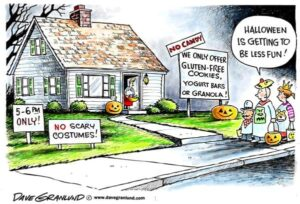 "Comic depicting house advertising no candy for halloween from ""My fantasy Halloween"" by Green Smoothie Girl"
