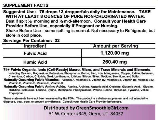 Supplement Facts from Product Label