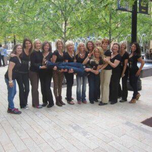 Robyn (horizontal) and Coaches (vertical, L to R) Amanda, Carol, Judi, Barbara, Cindy, Madeline, Jeanette, Karen, Allison, Marlyn, Debbie, Cathi, Mariza