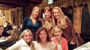 Dinner in Park City. Coaches Jeanette, Barbara, Judi (bottom row), Cindy, Marlyn, Robyn