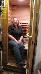 Cheryl in her Healthmate sauna.