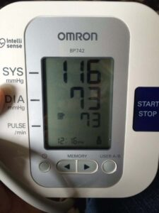 Mellissa's blood pressure after applying a whole foods diet and using essential oils.