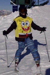 Tennyson in Sponge Bob ski gear.
