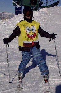 Tennyson in Sponge Bob ski gear.