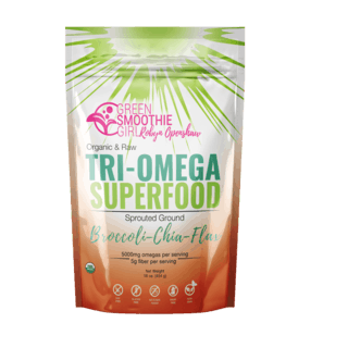 Photograph of a bag of GreenSmoothieGirl Tri-Omega Superfood against a neutral background.