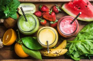 Does everything that goes in your mouth have to TASTE good? Fruit Smoothies with a handful of greens.