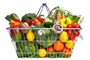 basket full of fresh fruits and vegetables