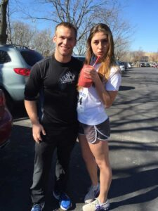Emma and Aaron with hot pink smoothie