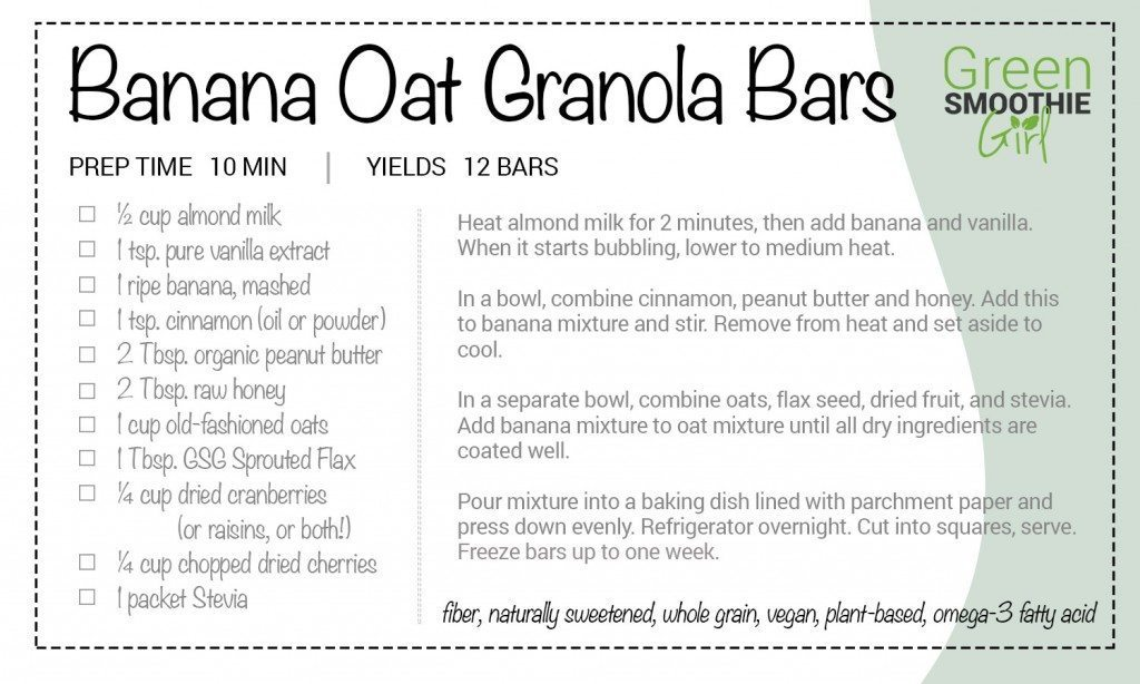 gsg recipe banana oat granola bar card