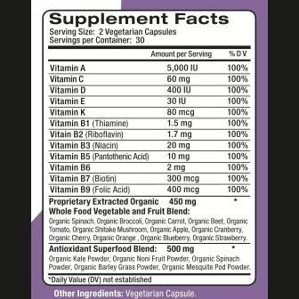 GardenVites Supplement Facts