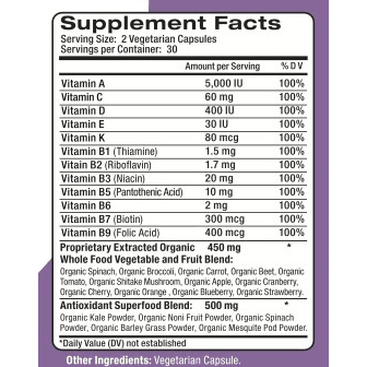 GardenVites Supplement Facts