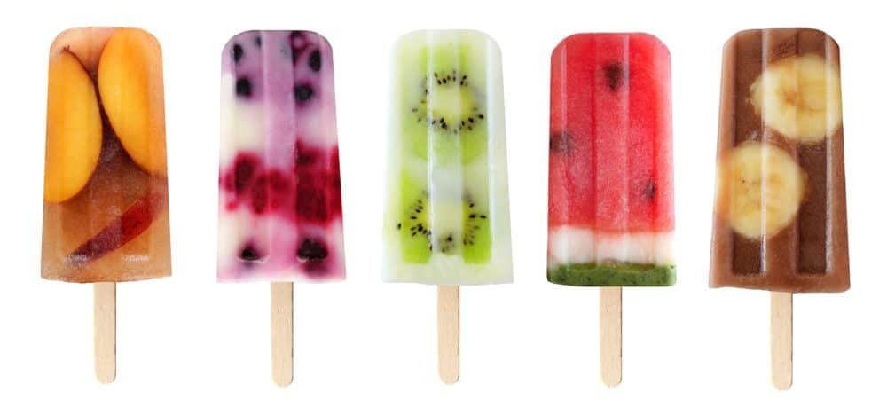 Healthy popsicles in assorted flavors