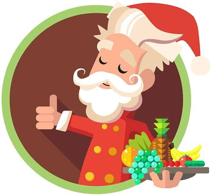 Flat vector card with cartoon Elf and kitchenware for menu in a restaurant or an invitation to Christmas and New Year party