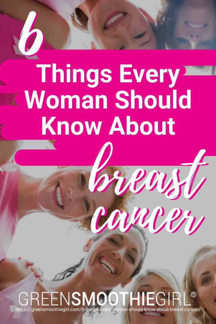 "Photo of women smiling with heads together and post text from ""6 Things Every Woman Should Know About Breast Cancer"" By Green Smoothie Girl"