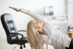stretches while at work