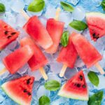 "Photo of watermelon popsicles and watermelon on ice from ""Red Watermelon Rush Popsicle"" recipe by Green Smoothie Girl"