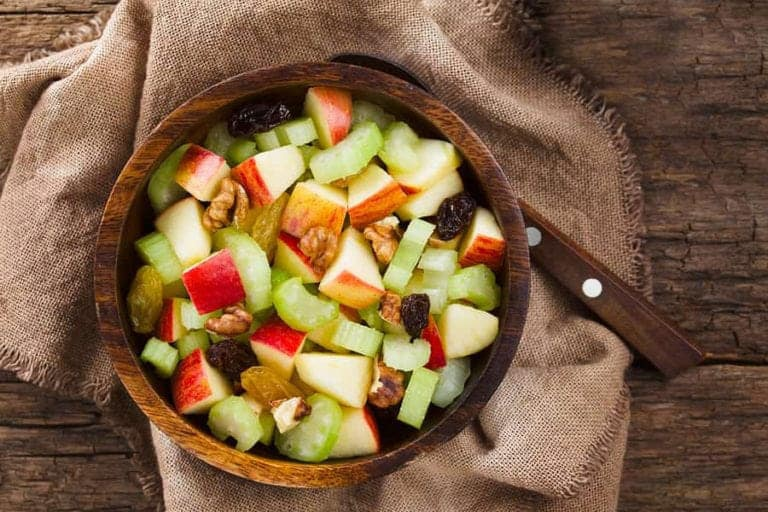 "Photo of cut apples, celery, and raisins on plate from ""Waldorf Salad"" recipe by Green Smoothie Girl"