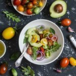 "Photo of tomatoes, avocados, greens in bowl from ""Avocado Almond Salad"" recipe by Green Smoothie Girl"