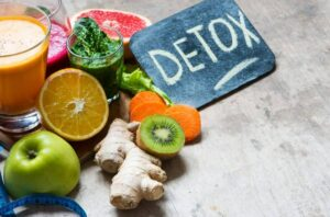 "Photo of fruits and vegetables with smoothies next to sign saying DETOX from ""{VIDEO} How to Change Your Weight ""Set Point"" Forever"" by Green Smoothie Girl"