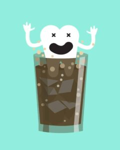 soda dissolves teeth! cartoon illustration of a tooth dissolving in a glass of soda.