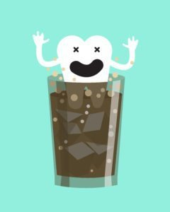 soda dissolves teeth! cartoon illustration of a tooth dissolving in a glass of soda.