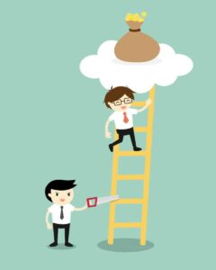 Business concept, Businessman is climbing the ladder for get a bag of money but another business man sawing a ladder.