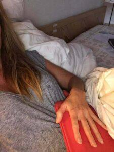 Robyn receiving a Liver Flush treatment at the Paracelsus Clinic Al Ronc