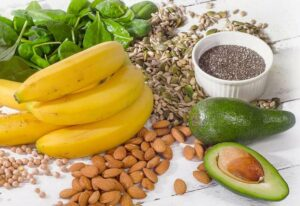 Greens, vegetables, fruits, legumes, whole grains, nuts and seeds.