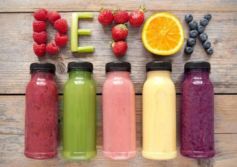 Assorted colors of detoxifying drinks