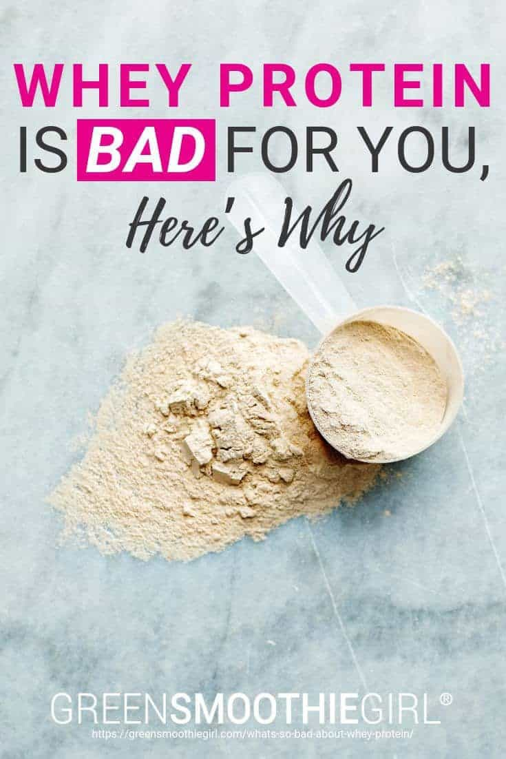 "Photo of vanilla scoop of whey on marble background with text of post's title from ""Whey Protein is Bad For You, Here's Why"" by Green Smoothie Girl"