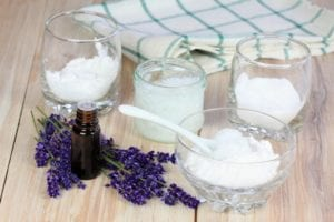 Photo of coconut oil, lavender and oil, and deodorant ingredients from