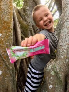 "Photograph of a young boy playing in a tree and holding a Blendbar nutrition bar, from ""Why Most Nutrition Bars are Garbage -- and What to Pack in Your Purse Instead"" at Green Smoothie Girl"