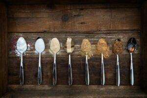 "Photo of sugar on spoons, from ""19 Sugar Substitutes: The Good, Bad, and the Ugly Which Sugar Alternative Should You Use?"" at Green Smoothie Girl."