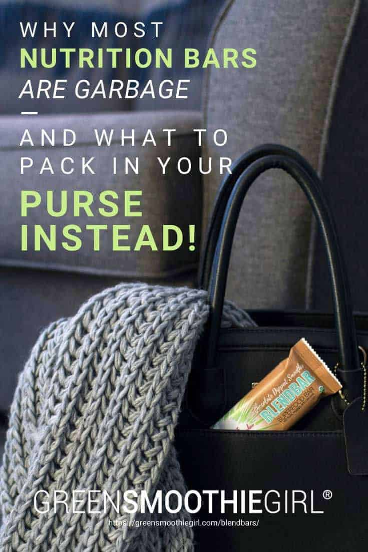 "Photo of chocolate green smoothie girl blend bar in black purse pocket with post's title from ""Why Most Nutrition Bars are Garbage -- and What to Pack in Your Purse Instead"" at Green Smoothie Girl"