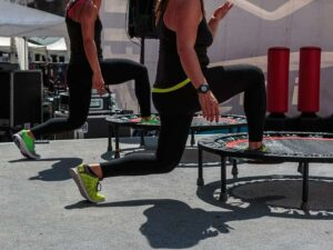 "Photo of mini trampolines from ""Leaps and Bounds: The Health Benefits of Rebounding"" at Green Smoothie Girl."