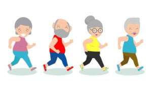 Graphic of healthy old people from
