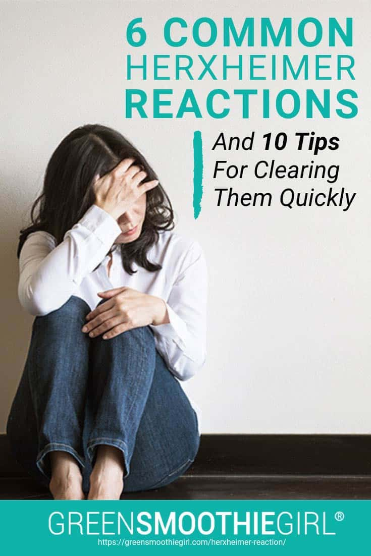"Photo of woman sitting down and holding head in pain from ""6 Common Herxheimer Reactions And 10 Tips For Clearing Them Quickly"" blog post by Green Smoothie Girl"