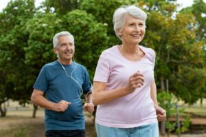 Photo of seniors running from
