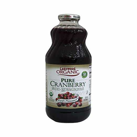 bottle of pure cranberry juice