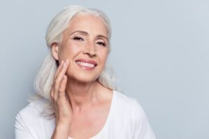 Photo of older woman's beautiful, healthy skin from