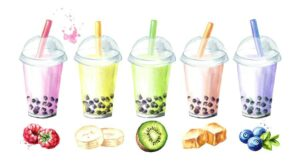 Graphic of fruity bubble tea from