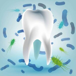 Illustration of bacterias and viruses around tooth from