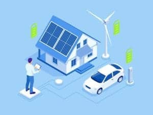 Graphic of home, car, electronic, and windmill from