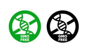 Image of DNA strands with No symbol and GMO free words from