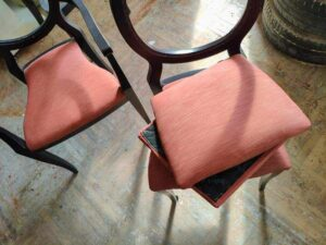 """Photo of chairs being upholstered from """"What To Do About Toxic Paint, Carpet, Furniture (Offgassing For Years!)"""" by Green Smoothie Girl"""