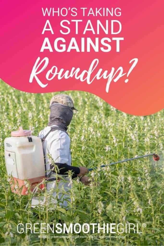 "Pin picture of person in chemical protective suit spraying chemical Roundup on green field from ""Who's Taking a Stand Against Roundup? (and Other Glyphosate Herbicides)"" by Green Smoothie Girl"