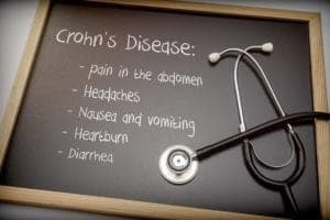 Photo of blackboard with Crohn's disease symptoms written and stethoscope from