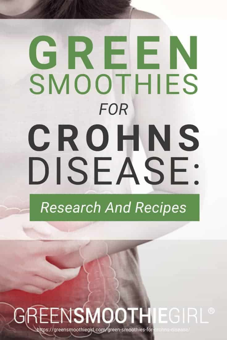 "Image of woman clutching red pulsating stomach with post's text from ""Green Smoothies For Crohn's Disease: Research And Recipes"" by Green Smoothie Girl"